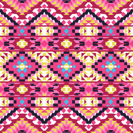 american indian aztec: Abstract seamless ethnic geometric pattern, vector illustration