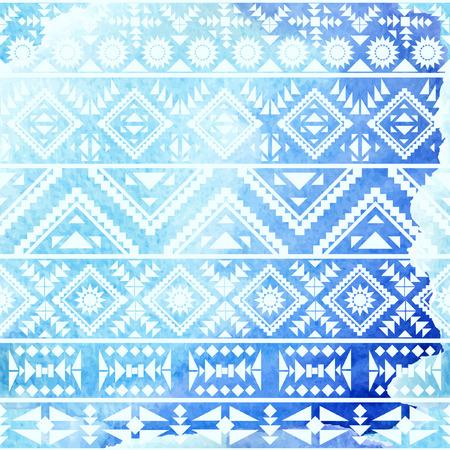 tribales: Modelo étnico sin fisuras en el fondo de la acuarela. Ilustración del vector.