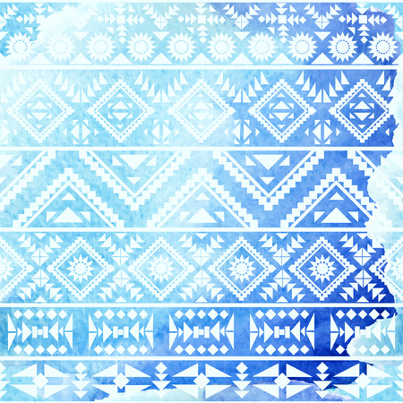 tribal: Seamless ethnic pattern on watercolor background. Vector illustration.