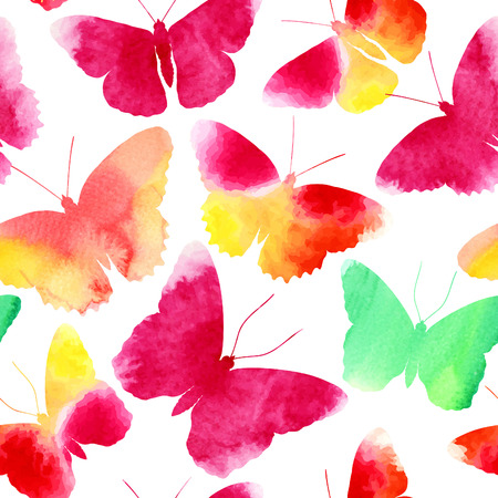 Seamless pattern with watercolor butterflies, vector illustration