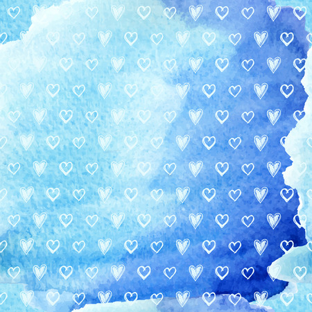 water s: Hand drawn hearts on watercolor background, vector illustration
