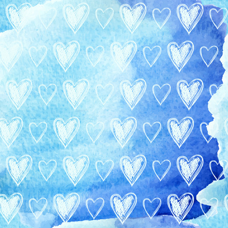 Hand drawn hearts on watercolor background, vector illustration