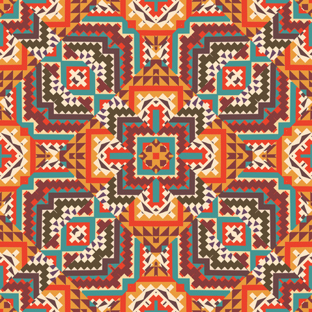 indian tribe: Abstract seamless ethnic geometric pattern, vector illustration