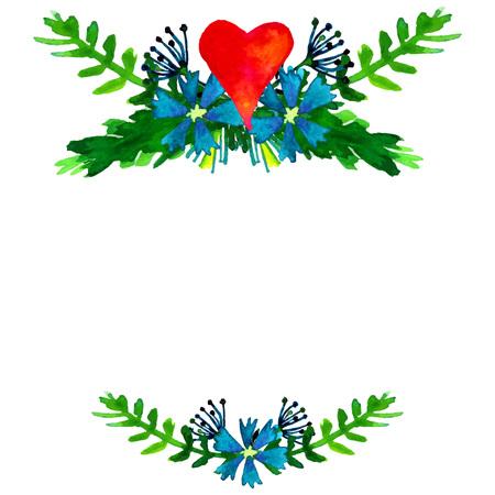 marcos redondos: Vector acuarela coloridas guirnaldas florales con flores de verano y copyspace blanco central de su texto. Reserva. Modelo de la invitación de la boda. Ilustración de la acuarela. Vectores