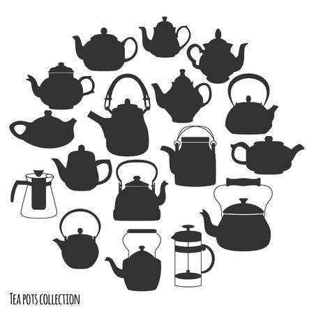 alimentos y bebidas: Té ollas y teteras colección, ilustración vectorial