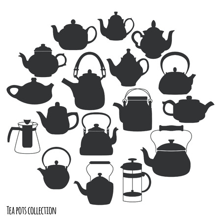 Tea pots and kettles collection, vector illustration