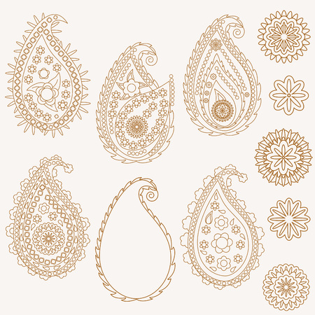 mehendi: Set of paisley and flowers, vector illustration