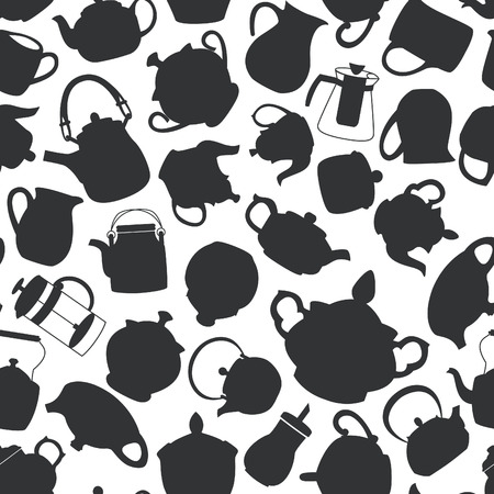 milk jugs: Black and white seamless pattern with tea pots, sugar bowls and milk jugs. Vector illustration. Illustration