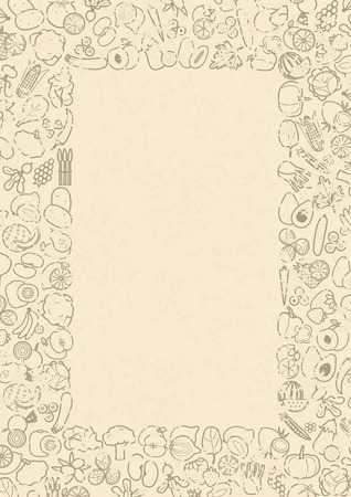 the sprouting: Fruits and vegetables frame for menu or recipe, vector illustration