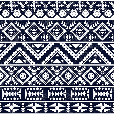 Seamless black and white ethnic pattern, vector illustration