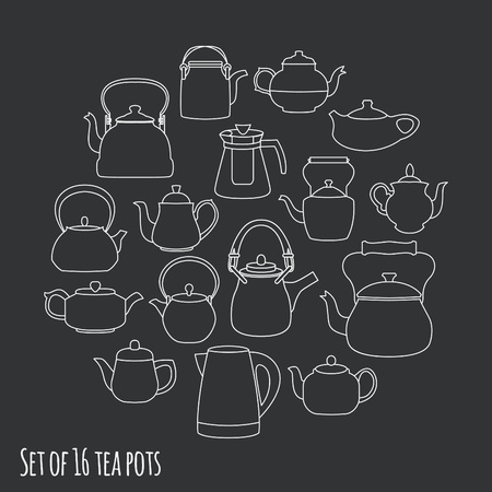 kettles: Tea pots and kettles collection, vector illustration Vectores