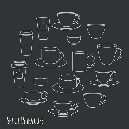 dinnerware: Tea cups collection, vector illustration