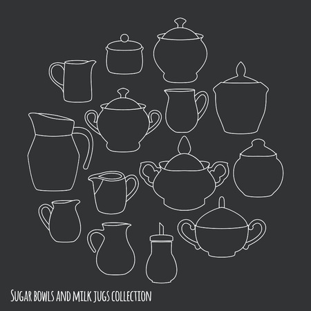 milk jugs: Kitchen utensils collection. Sugar bowls and milk jugs. Vector illustration.