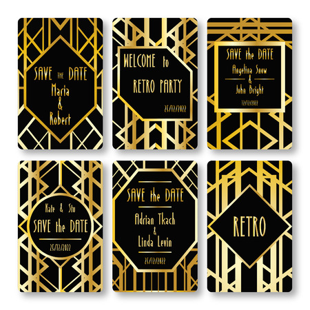 wedding day: Set of vector card templates in art deco style. Ideal for Save The Date, baby shower, mothers day, valentines day, birthday cards, invitations.
