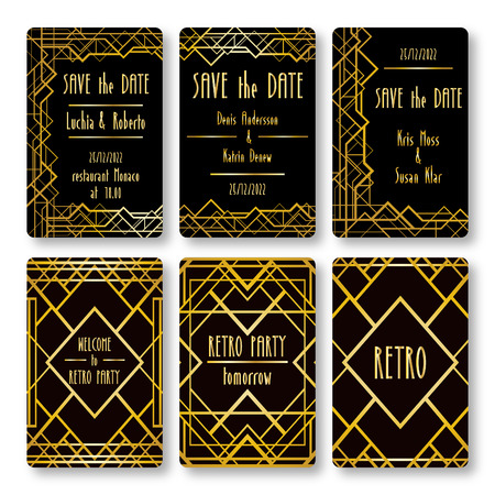 roaring: Set of vector card templates in art deco style. Ideal for Save The Date, baby shower, mothers day, valentines day, birthday cards, invitations.