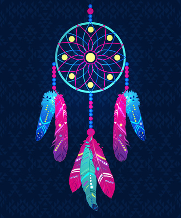 Dream catcher with abstract feathers in ethnic style, vector illustration Çizim