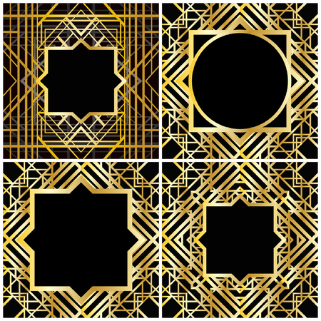 4 art deco geometric frames