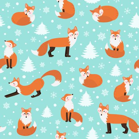 Modèle sans couture de renard d'hiver