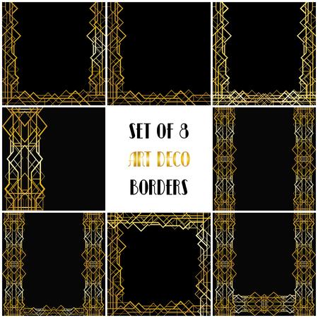 8 art deco geometric frames Иллюстрация
