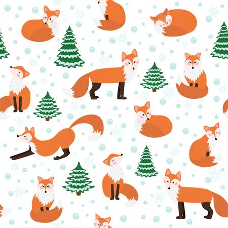 Winter fox seamless pattern Иллюстрация