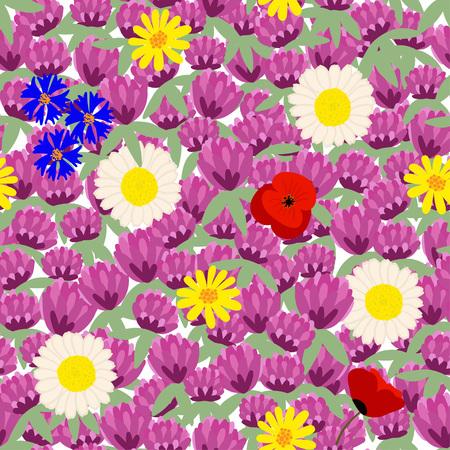 Blooming meadow. Floral seamless pattern.