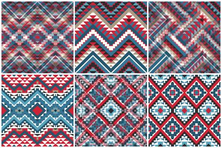 6 ethnic geometric pattern collection, vector illustration Иллюстрация