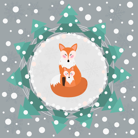 Card with red foxes in winter Иллюстрация