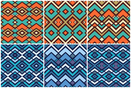 6 geometric pattern collection, vector illustration