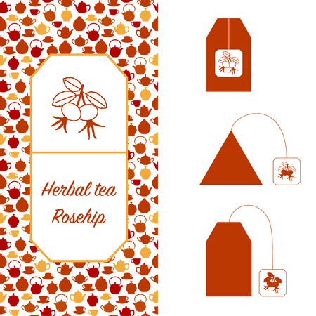 Design elements for tea packaging. Rosehip herbal tea.