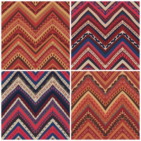 4 ethnic geometric pattern collection, vector illustration Иллюстрация