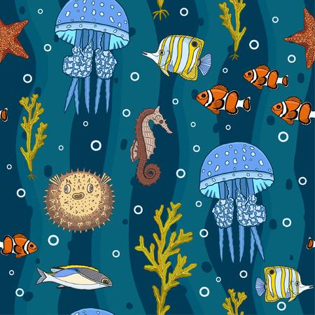 Underwater deep sea seamless pattern