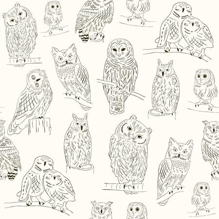 Funny owl seamless pattern Иллюстрация