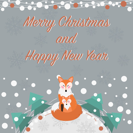 Greeting card for Merry Christmas and Happy New Year