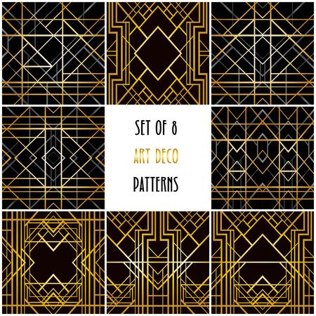 8 art deco geometric backgrounds Иллюстрация