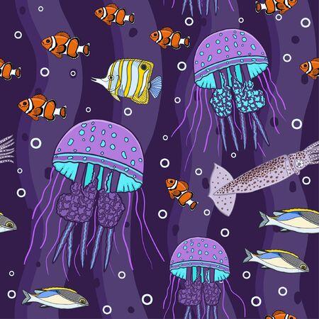 Seamless underwater pattern. Deep sea vector illustration.