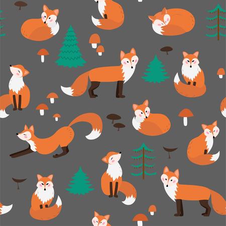 Summer fox seamless pattern on a gray background Иллюстрация