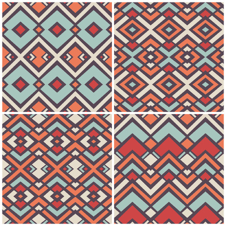 4 geometric pattern collection, vector illustration