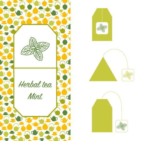 Design elements for tea packaging. Mint herbal tea.