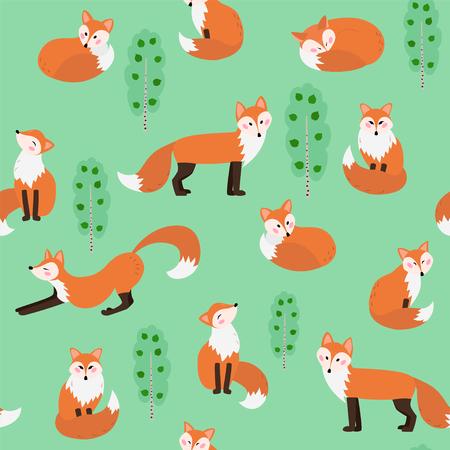 Summer fox seamless pattern