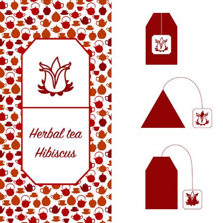 Design elements for tea packaging. Hibiscus herbal tea. Иллюстрация