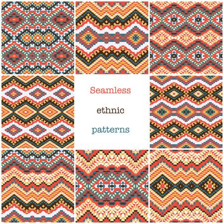 8 ethnic geometric pattern collection, vector illustration