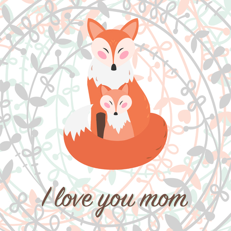 I love you mom. Vector greeting card for mothers day.