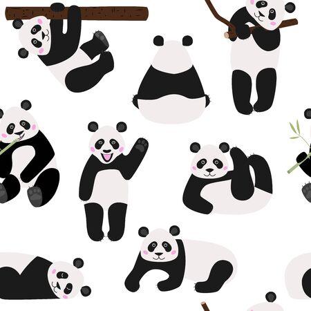 Patrón de textil sin costuras panda de dibujos animados