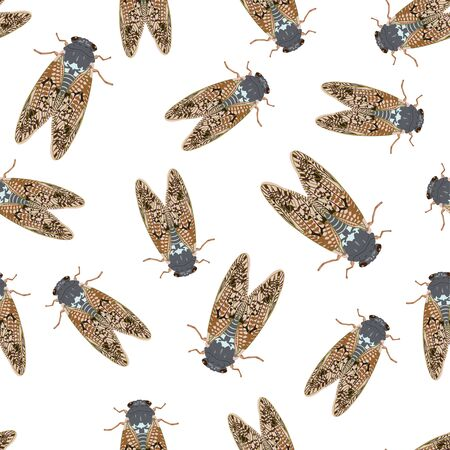 Cicada mosquito seamless textile pattern