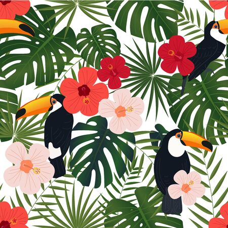 Tropical floral seamless textile pattern Vector Illustration