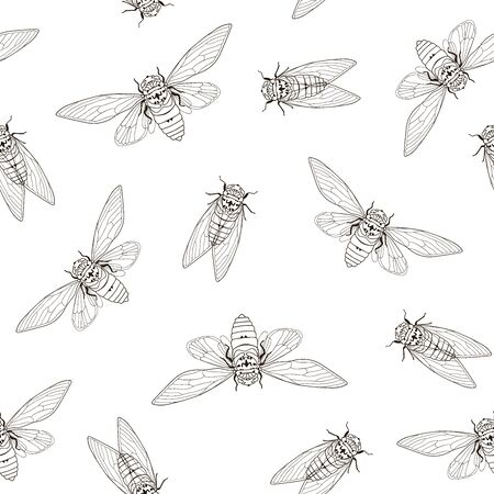 Cicada seamless textile pattern