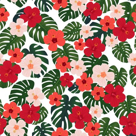 Tropical floral seamless pattern, textile print.