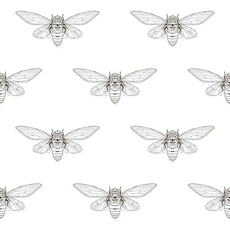 Cicada mosquito seamless pattern, textile print.