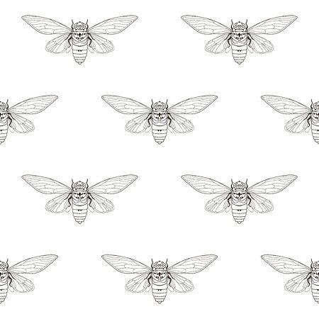 Nahtloses Muster der Zikadenmücke, Textildruck.