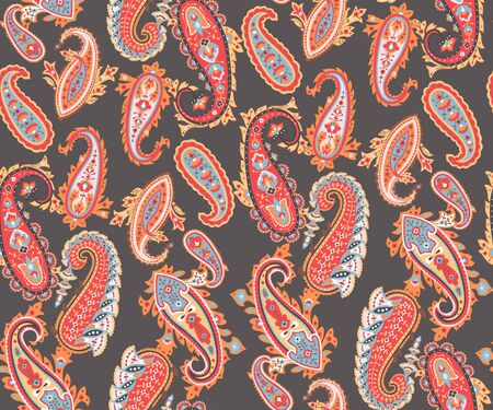 Abstract paisley background, textile print. Vectores